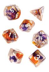 Sirius Dice RPG Dice Set (7): Purple, Orange Clear