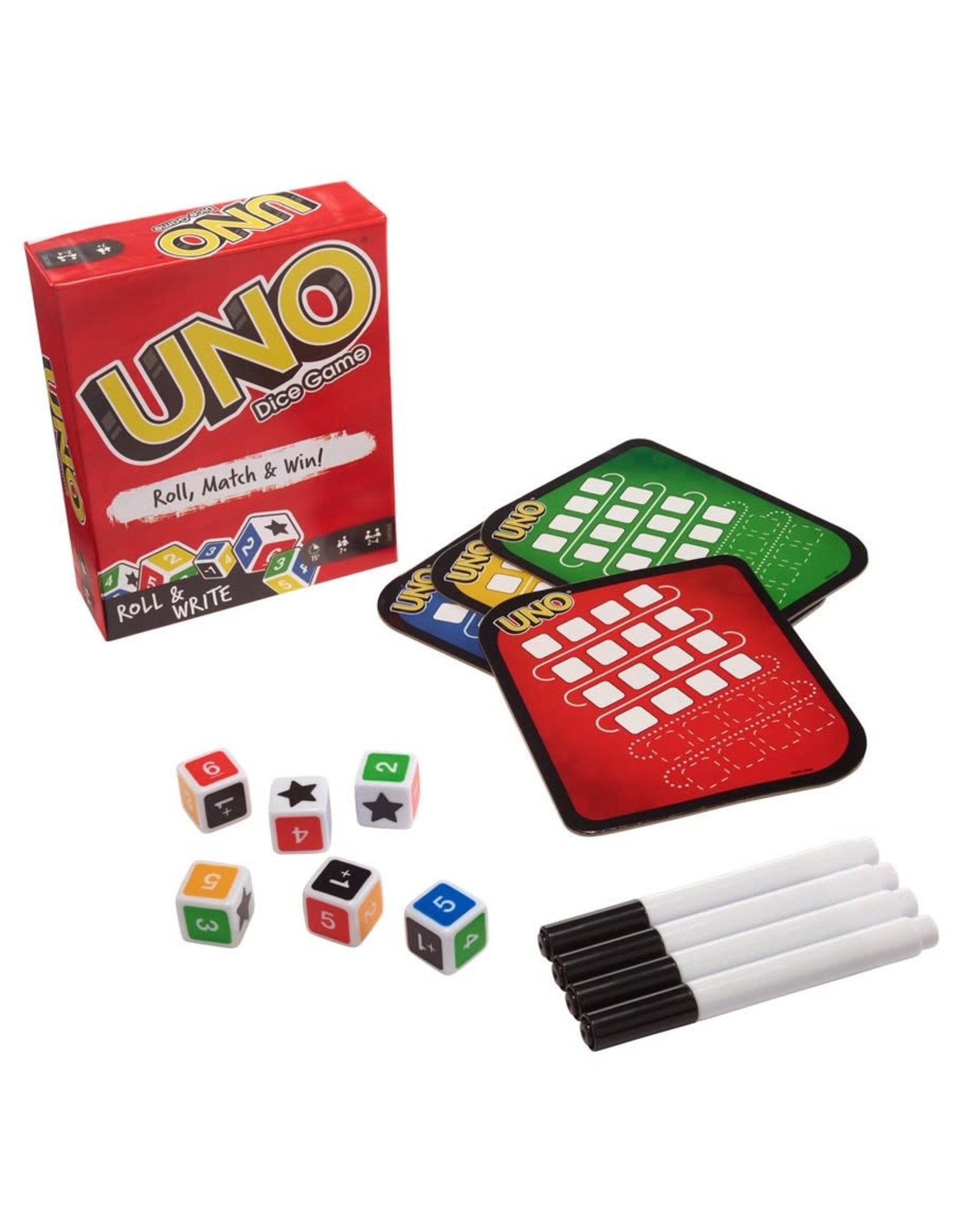 Mattel Games UNO: Roll &Write Dice Game