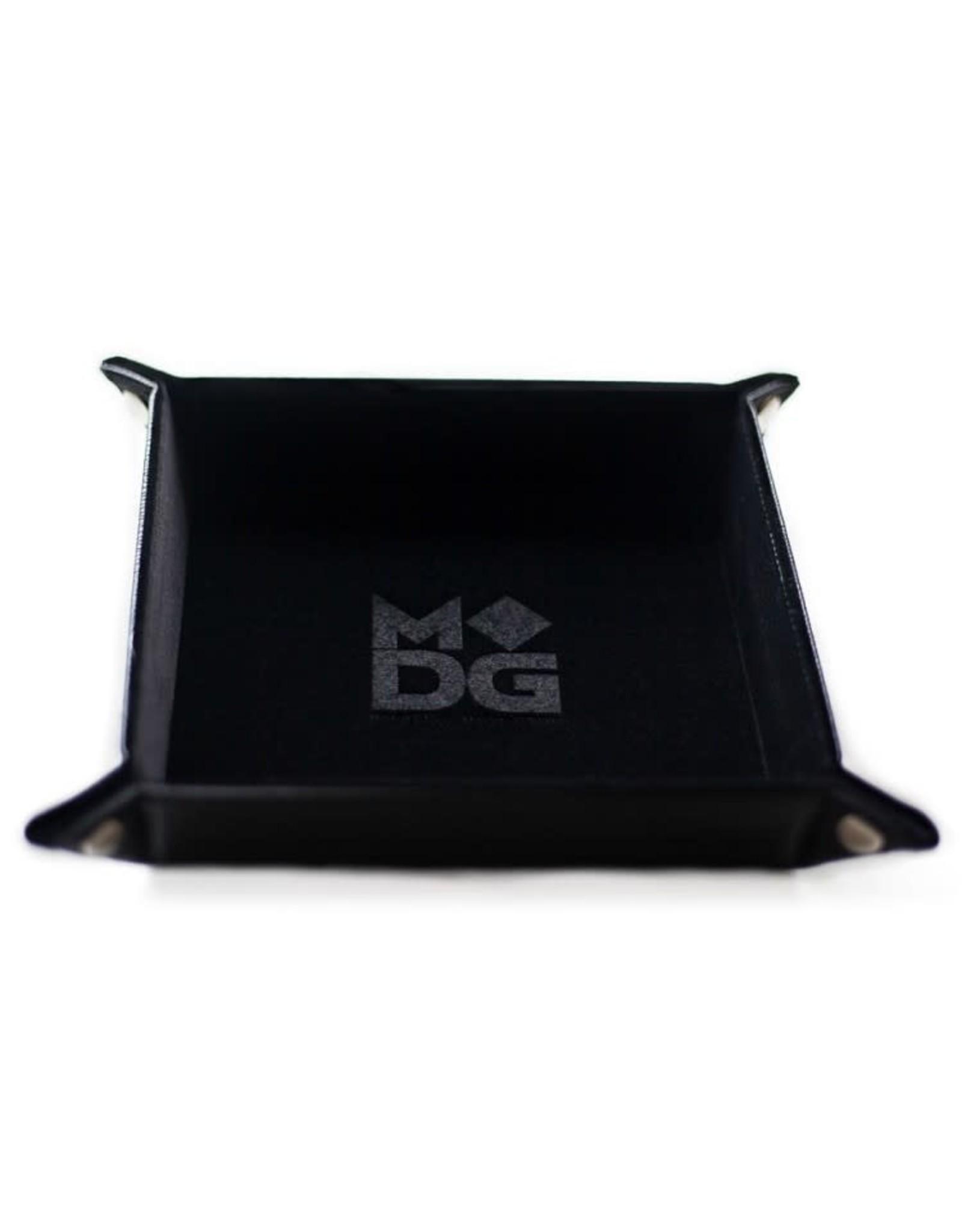 Metallic Dice Games Folding Dice Tray: Velvet 10x10 BK