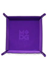 Metallic Dice Games Folding Dice Tray: Velvet 10in x 10in PU