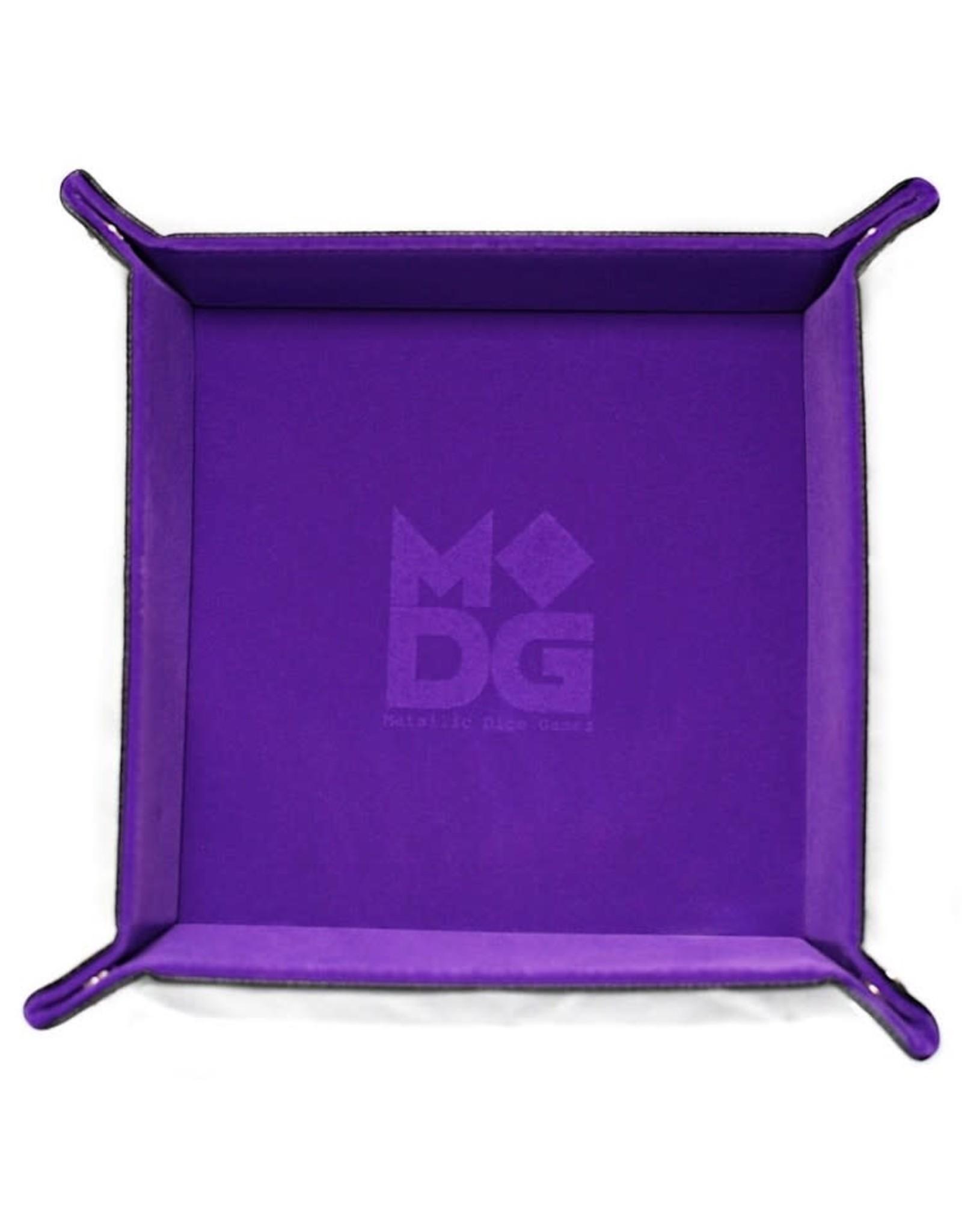 Metallic Dice Games Folding Dice Tray: Velvet 10x10 PU