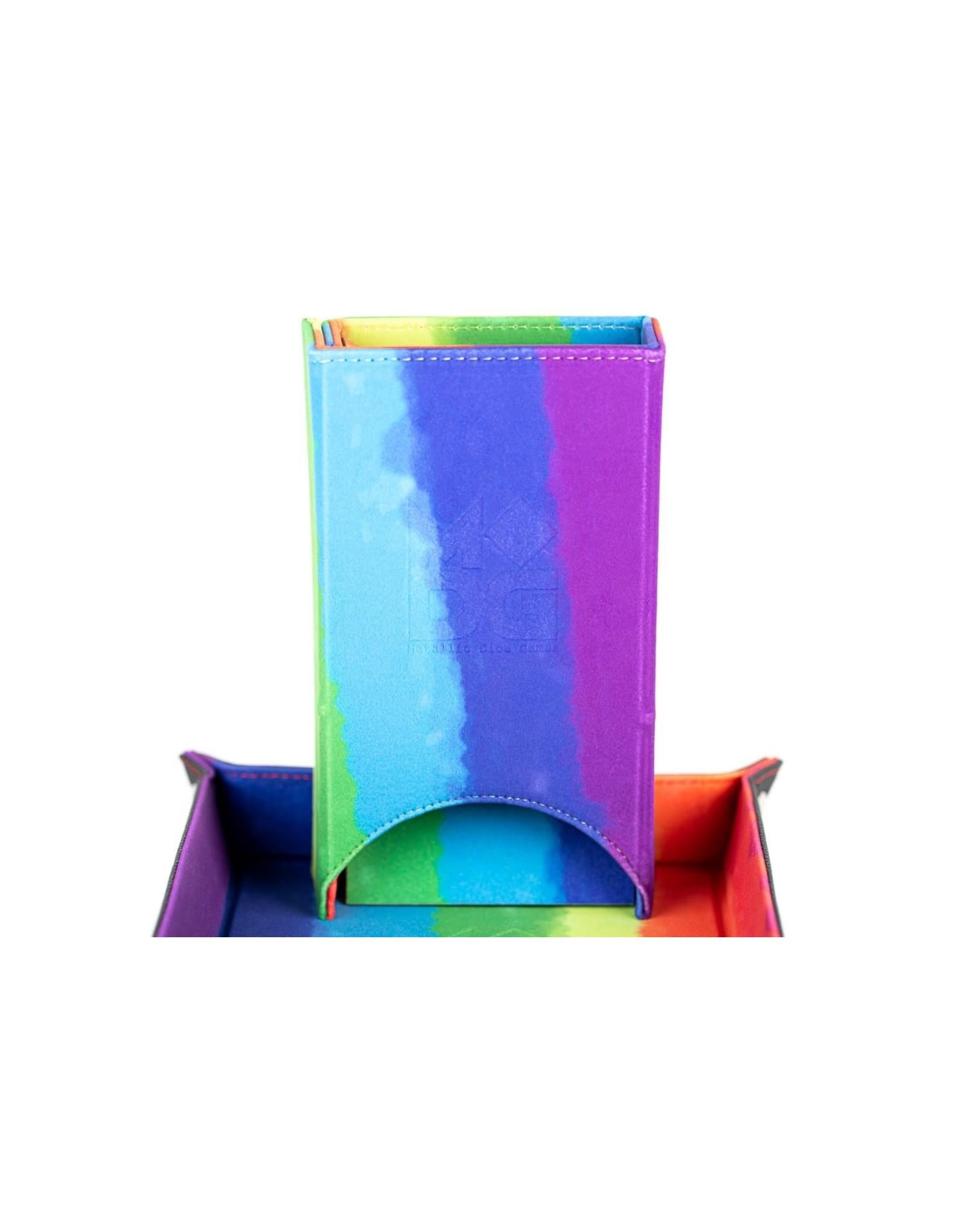 Metallic Dice Games Velvet Fold Up Dice Tower: Watercolor Rainbow