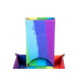 Metallic Dice Games Velvet Fold Up Dice Tower: Watercolor Rainbow