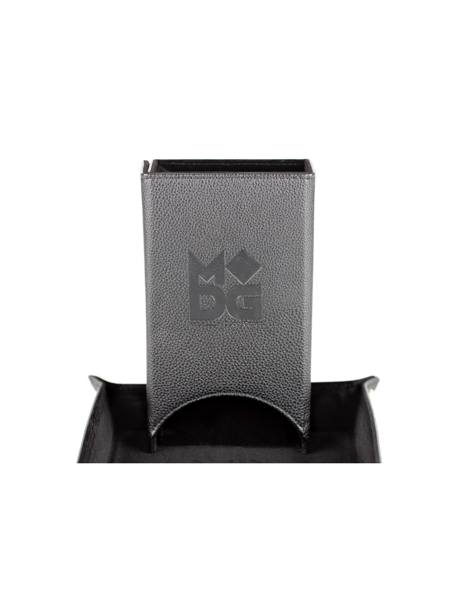 Metallic Dice Games Leather Fold Up Dice Tower: Black