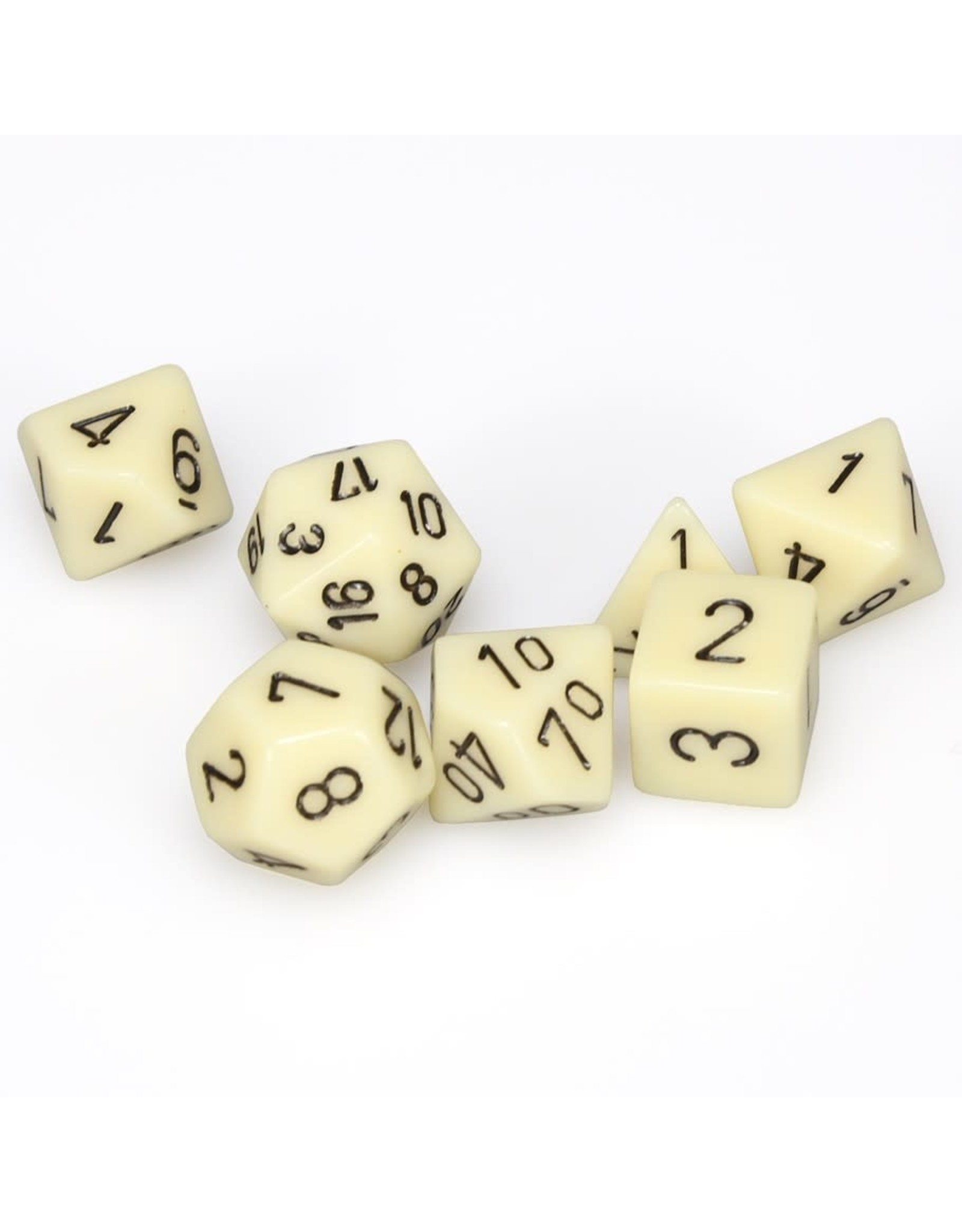 Chessex 7-set Cube Opaque Ivory/Black
