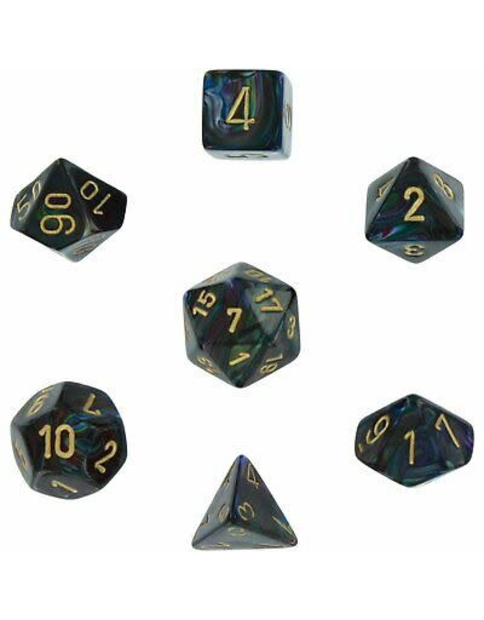 Chessex Lustrous: Poly Shadow/Gold (7)