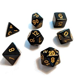 Sirius Dice RPG Dice Set (7): Solid Black, Gold Ink