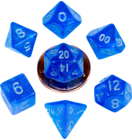Metallic Dice Games MDG Acrylic 10mm Mini 7-Die Set Stardust Blue with Silver Numbers