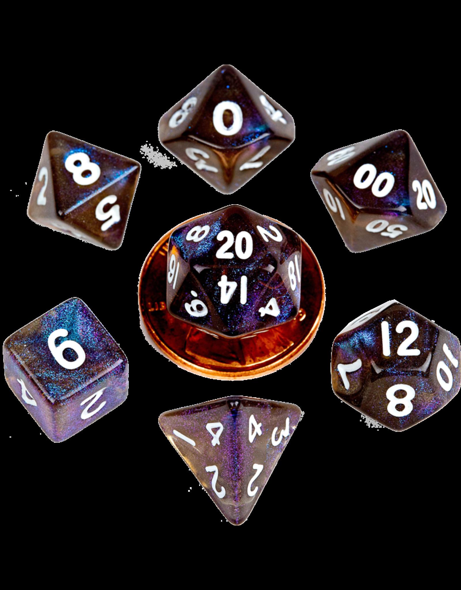 Metallic Dice Games MDG Acrylic 10mm Mini 7-Die Set Stardust Galaxy