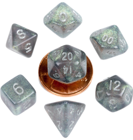 Metallic Dice Games MDG Acrylic 10mm Mini 7-Die Set Stardust Gray with Silver Numbers