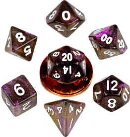 Metallic Dice Games MDG Acrylic 10mm Mini 7-Die Set Stardust Supervolcano
