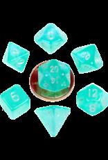 Metallic Dice Games MDG Acrylic 10mm Mini 7-Die Set Stardust Turquoise