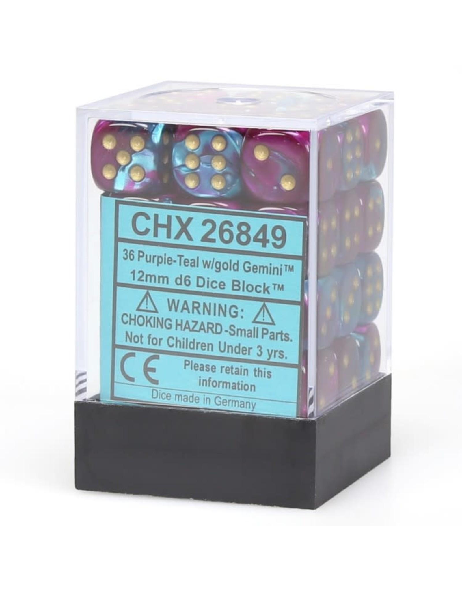 Chessex d6 Cube 12mm Gemini#5 PUTLgd (36)