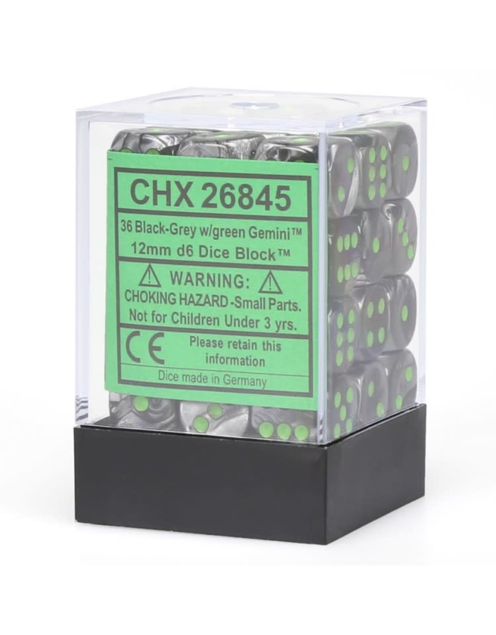 Chessex d6 Cube 12mm Gemini#5 BKGYgn (36)