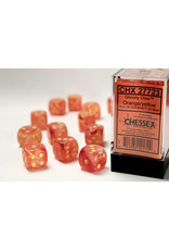 Chessex d6 Cube 16mm Ghostly Glow ORye (12)