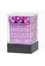 Chessex d6 Cube 12mm Festive Violet/wh (36)