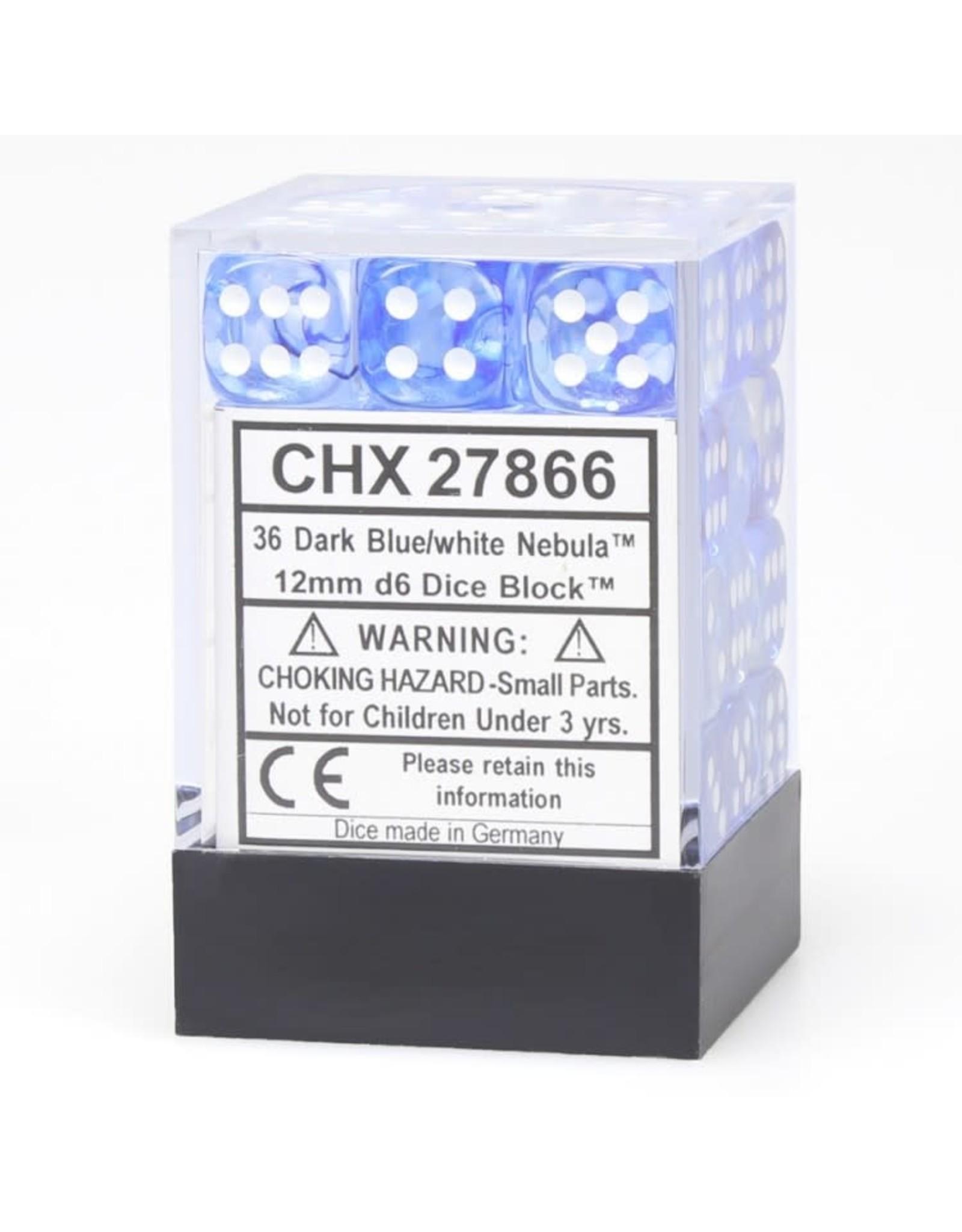 Chessex d6 Cube 12mmNB DKBUwh (36)