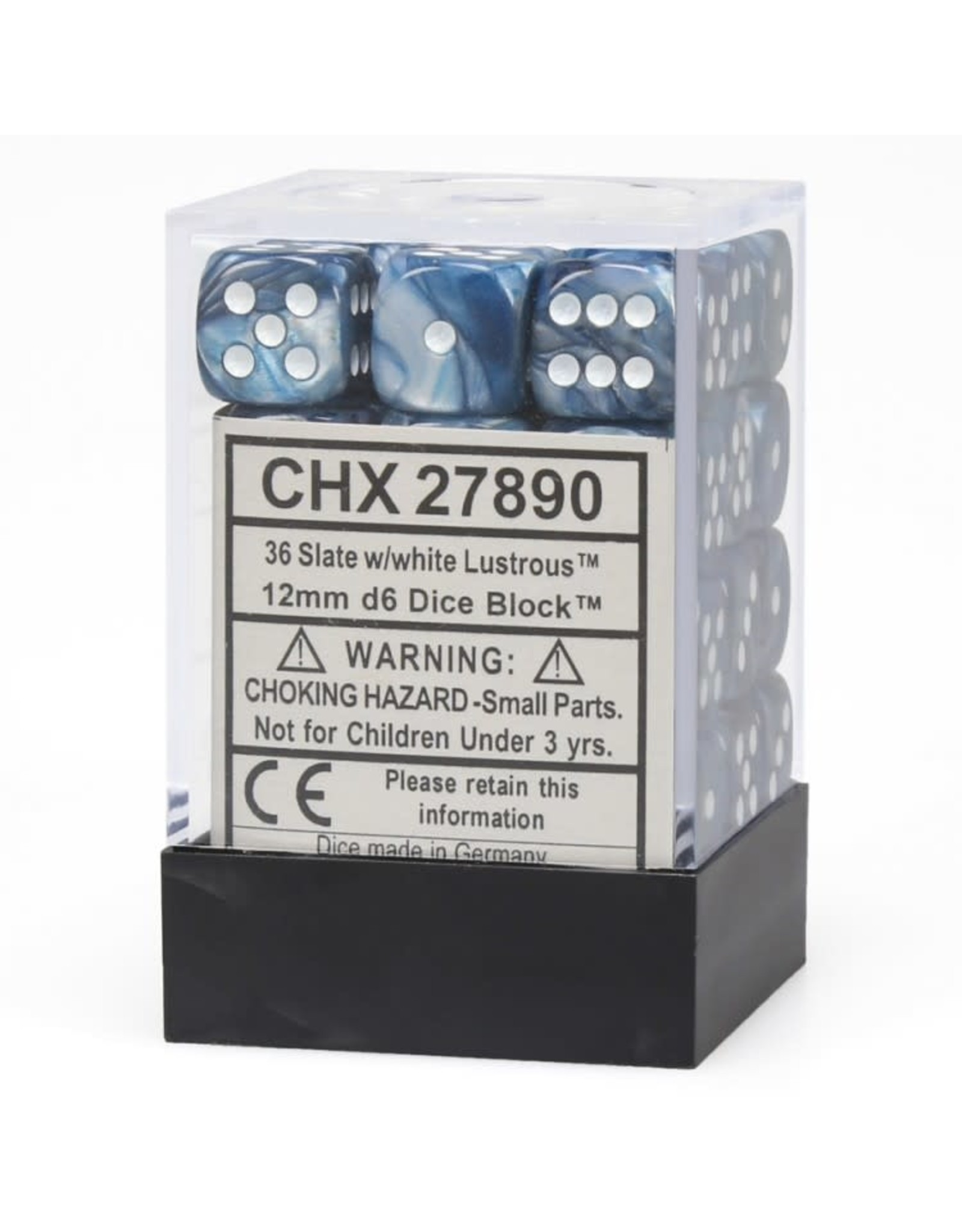 Chessex d6 Cube 12mm Lustrous Slate/wh (36)