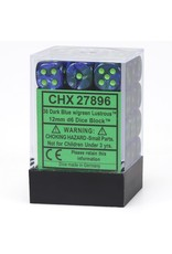 Chessex d6 Cube 12mm Lustrous DkBUgn (36)