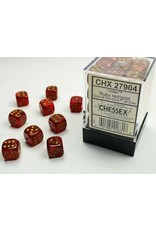 Chessex d6 Cube 12mm GlitterPolyhedral Rubygd (36)
