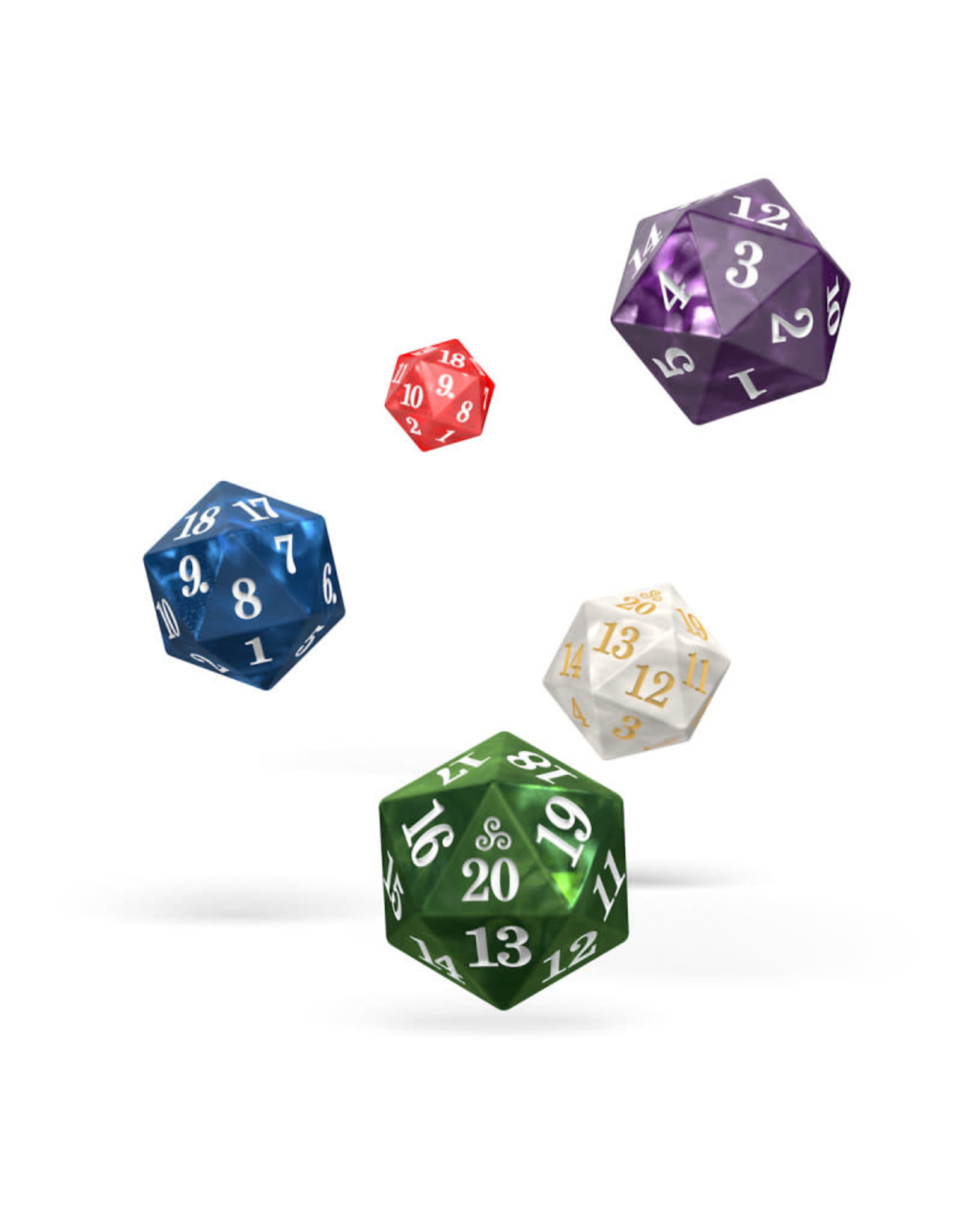 Oakie Doakie Dice H4 OK d20 Set Spindown Marble