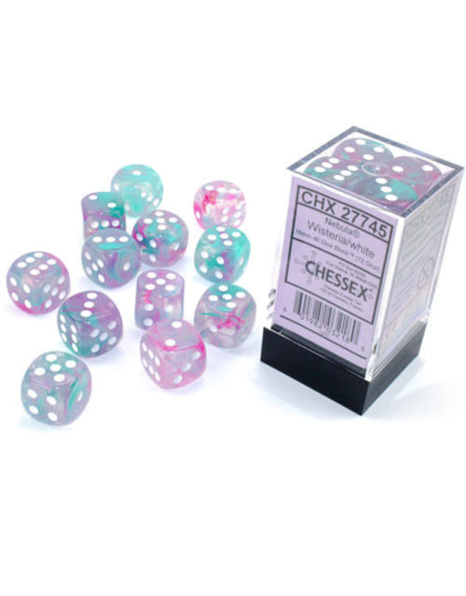 Chessex d6Cube 16mm Luminary NB Wisteria wh (12)