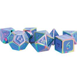 Metallic Dice Games 16mm Metal Polyhedral Dice Set: Rainbow with Blue Enamel