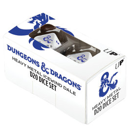 Ultra Pro Dungeons and Dragons RPG: Icewind Dale - Heavy Metal - D20 White and Blue Dice Set (2)