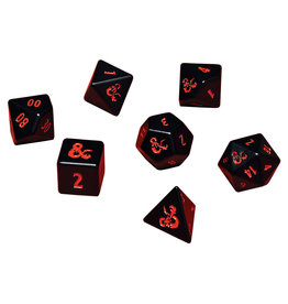 Ultra Pro Dungeons and Dragons RPG: Heavy Metal - Poly Black and Red Dice Set (7)