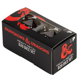 Ultra Pro Dungeons and Dragons RPG: Heavy Metal - D20 Black and Red Dice Set (2)