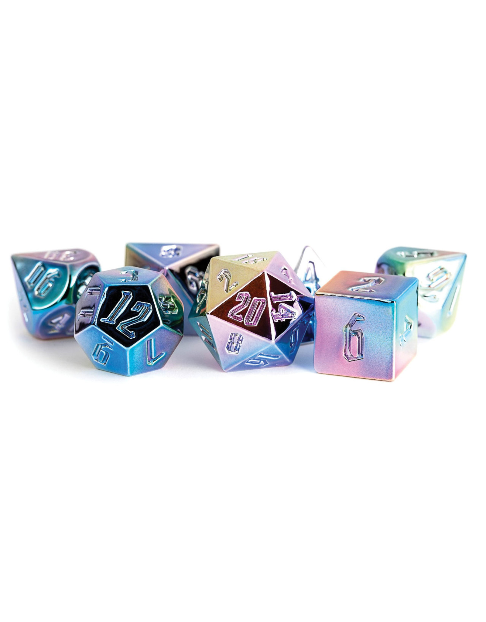 Metallic Dice Games 16mm Aluminum Plated Acrylic Poly Dice Set: Rainbow Aegis Uninked (7)