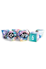 Metallic Dice Games 16mm Aluminum Plated Acrylic Poly Dice Set: Rainbow Aegis w/ White Numbers (7)