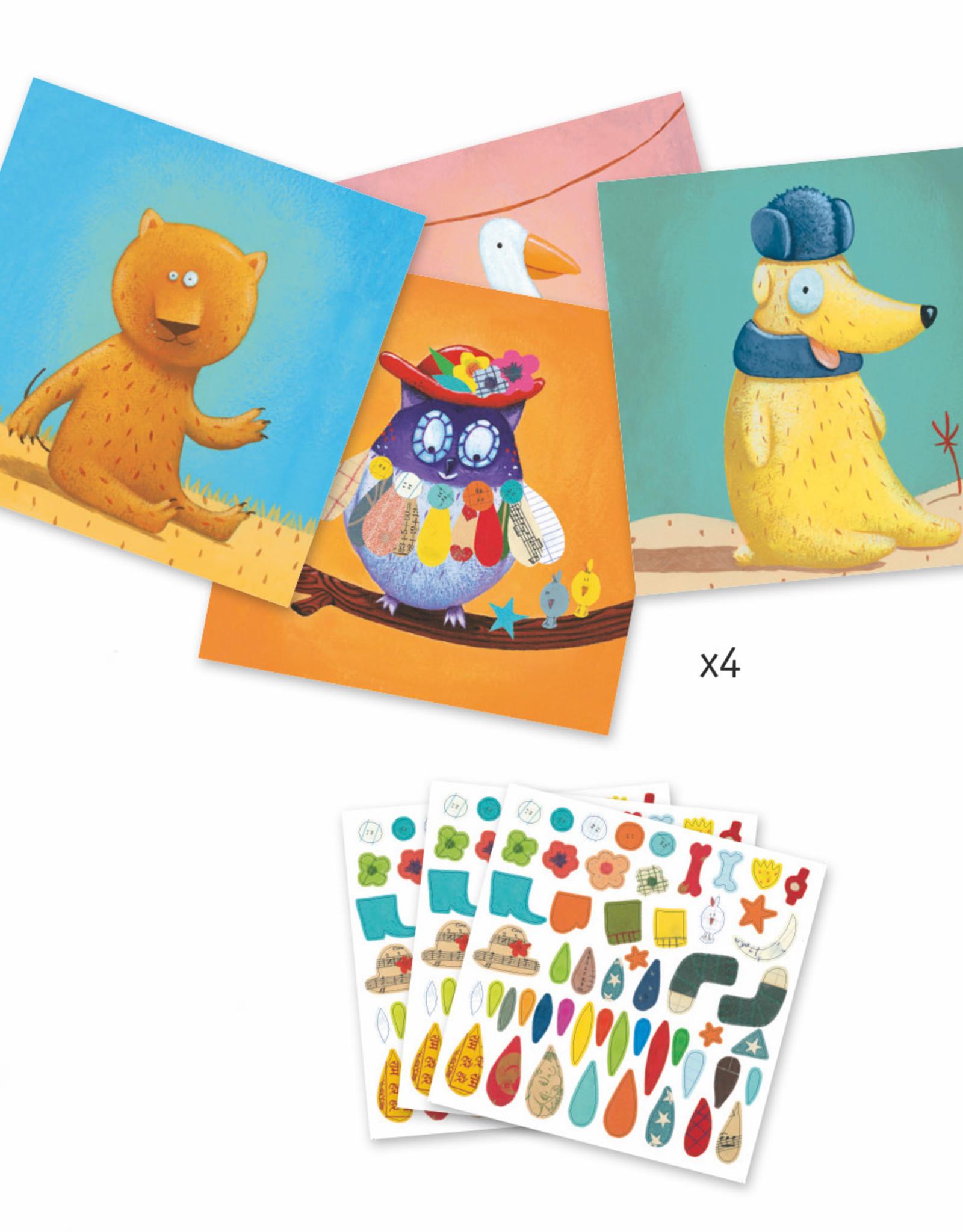 Djeco Petit Gifts - Sticker Kits Create Animals