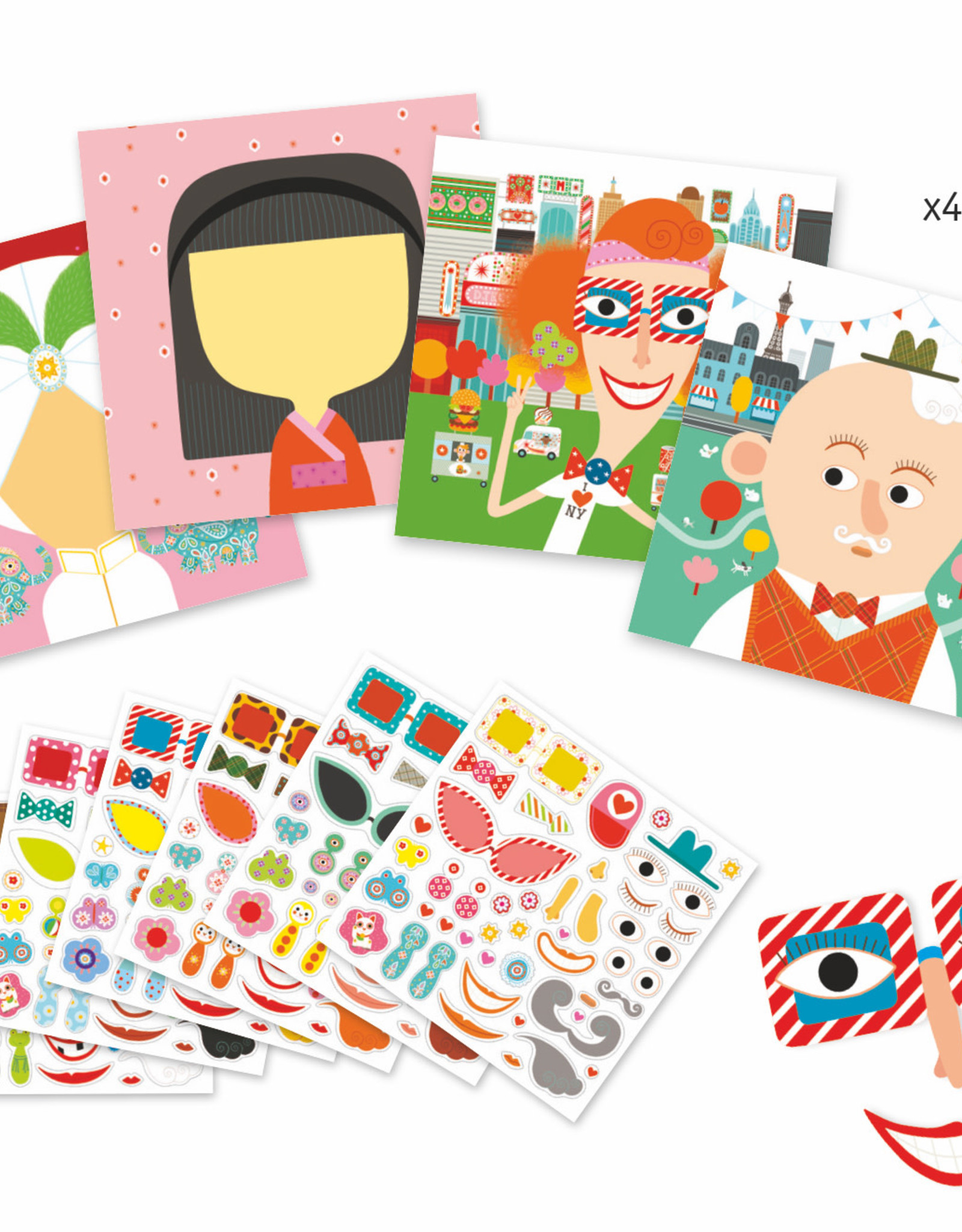 Djeco Petit Gifts - Sticker Kits Make-A-Face