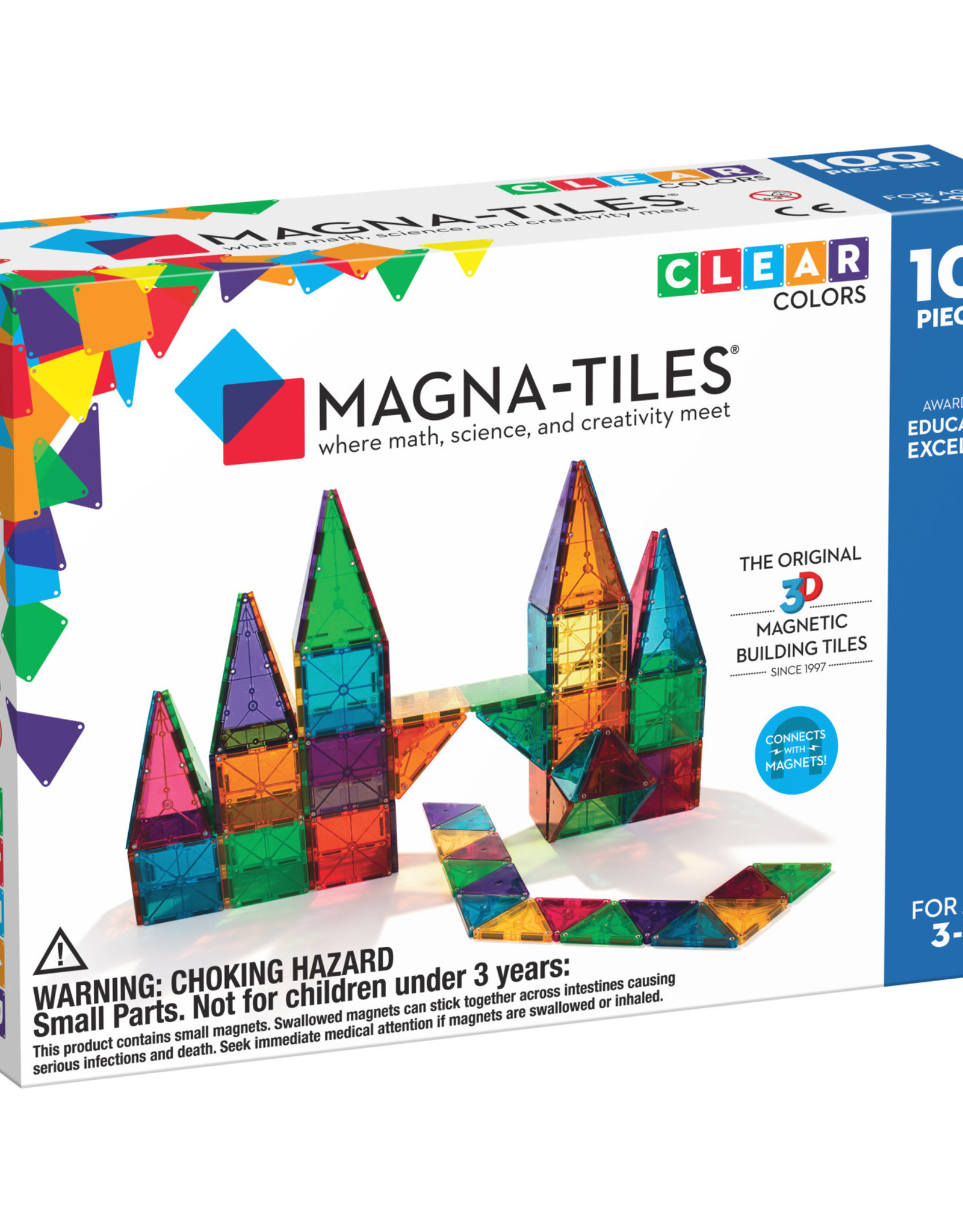 Magna-Tiles Magna-Tiles Clear Colors 100 pc