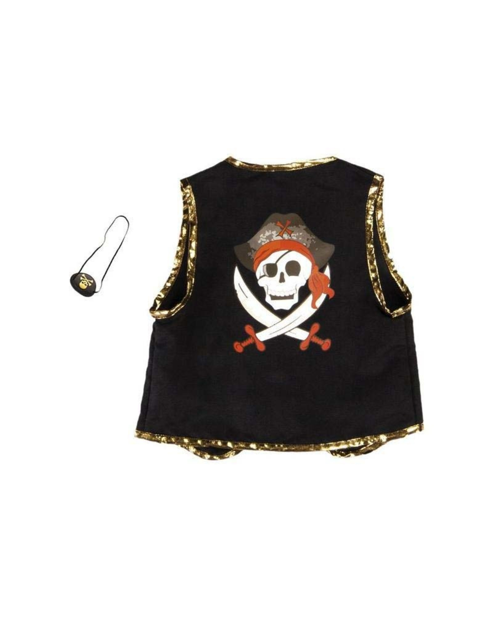 Great Pretenders Pirate Vest with Eye Patch, Black, Size 5-6