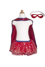 Great Pretenders Superhero Tutu, Cape & Mask Set, Blue/Red, Size 4-7