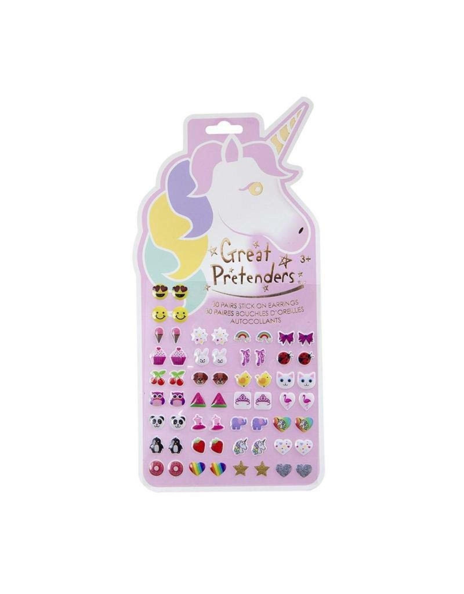 Great Pretenders Unicorn Sticker Earrings - Card