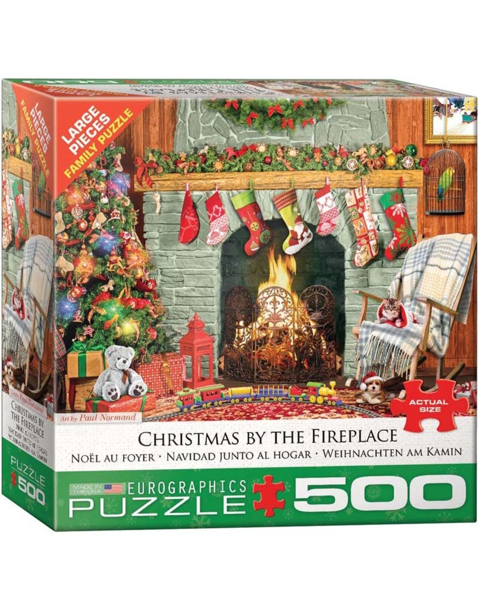 EuroGraphics 500pc Christmas by the Fireplace