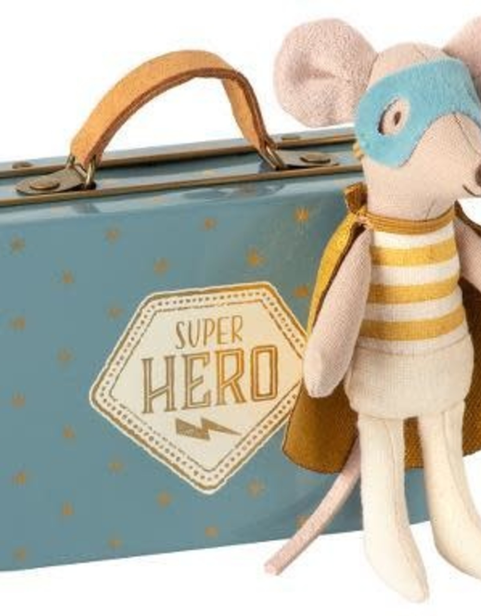 Maileg Maileg Superhero Mouse, Little Brother in Suitcase