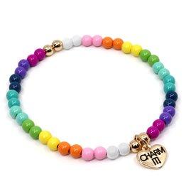 Charm It! Charm It! 4mm Rainbow Stretch Bead Bracelet