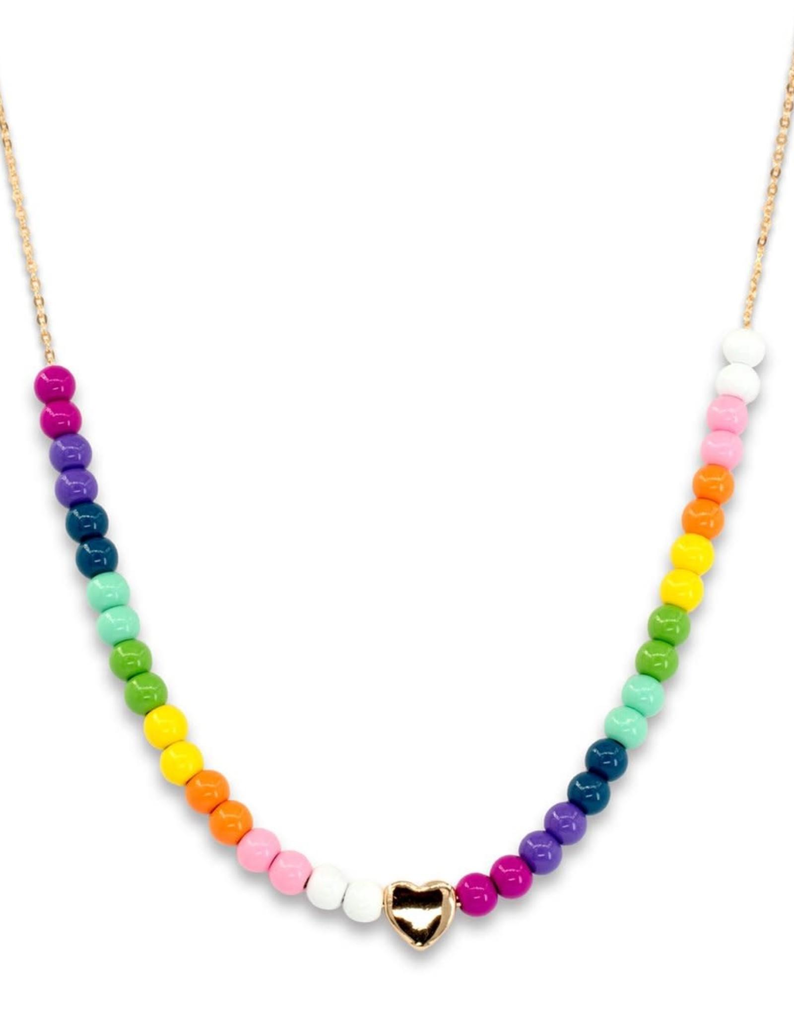 Charm It! Charm It! Gold Rainbow Bead Necklace