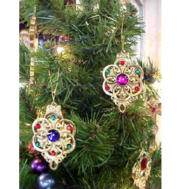 SET OF 4 METAL JEWEL ORNAMENTS