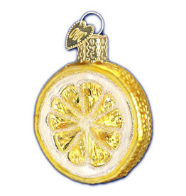 GLASS LEMON SLICE XMAS ORNAMENT