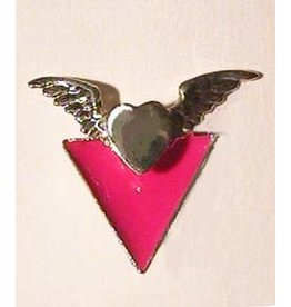 WINGED PINK TRIANGLE PIN