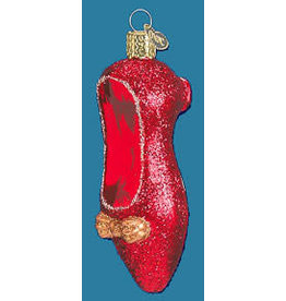 RUBY SLIPPER GLASS ORNAMENT