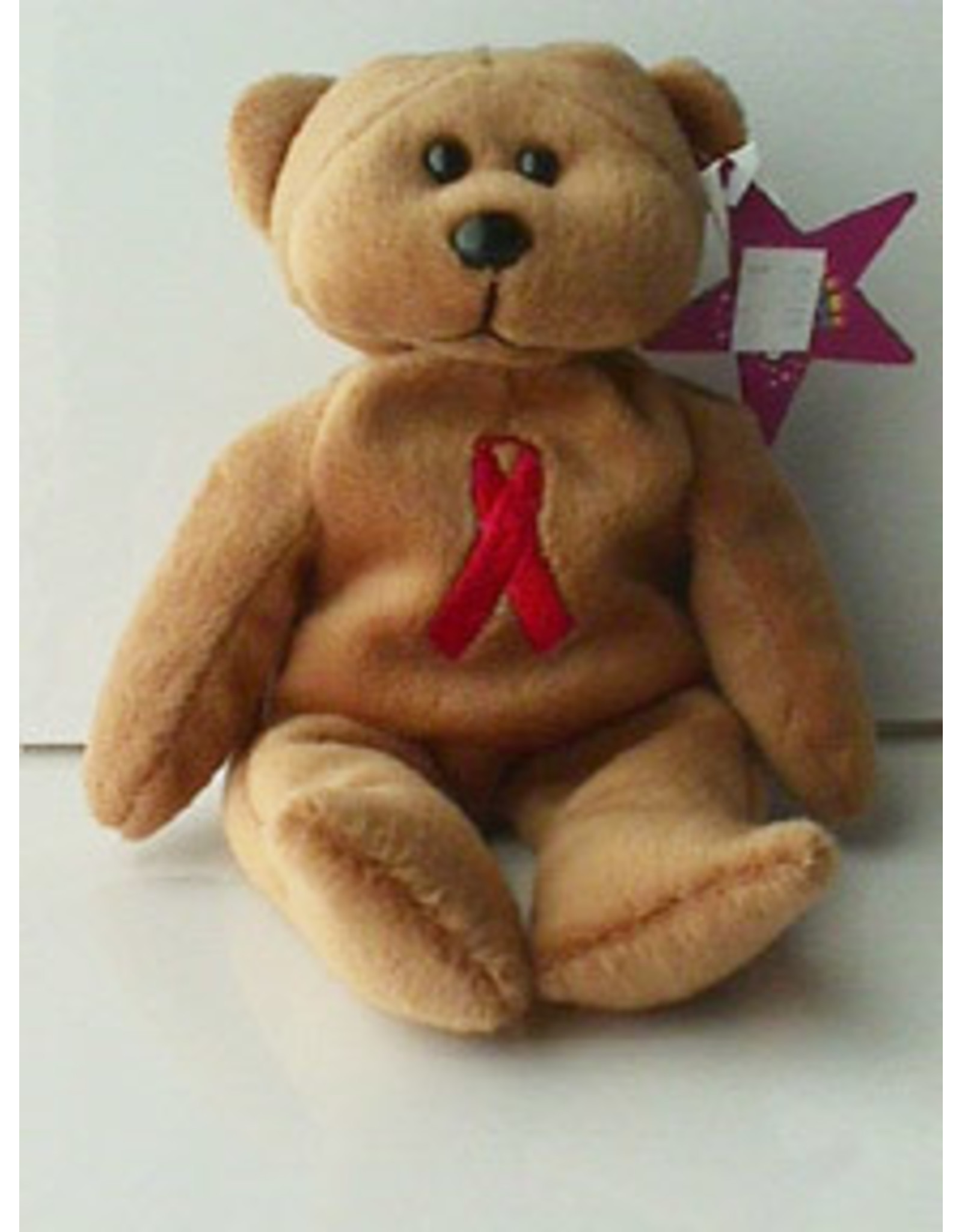 RED RIBBON BEANIE BEAR
