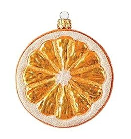 X-MAS ORN. GLASS ORANGE SLICE
