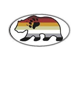 BEAR FLAG STICKER SILHOUETTE OVAL