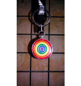 R-BOW CIRCLES PEWTER KEYCHAIN